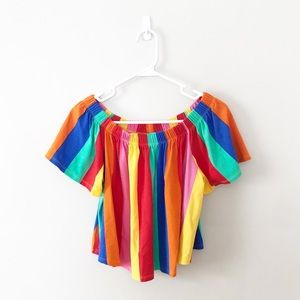 ASOS Rainbow Striped Off the Shoulder Top